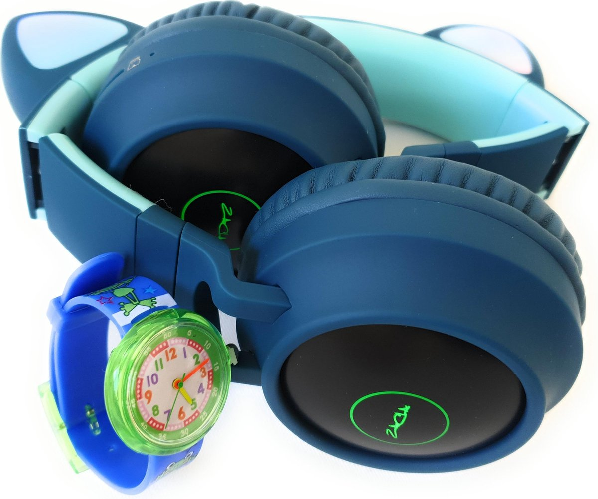 ZaCia Bluetooth Draadloze On-Ear Koptelefoon voor Kinderen Groen Incl. educatief kinderhorloge – Kattenoortjes – Kinder Hoofdtelefoon – Microfoon – HiFi Stereo Audio – Handsfree – Gehoorbescherming – Schakelbare LED-verlichting – Noise Cancelling