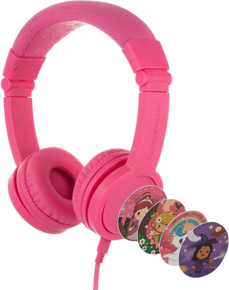 BuddyPhones Explore+ - kindvriendelijke on-ear koptelefoon - geluidsbegrenzing, audio splitter, meegeleverde stickers, roze