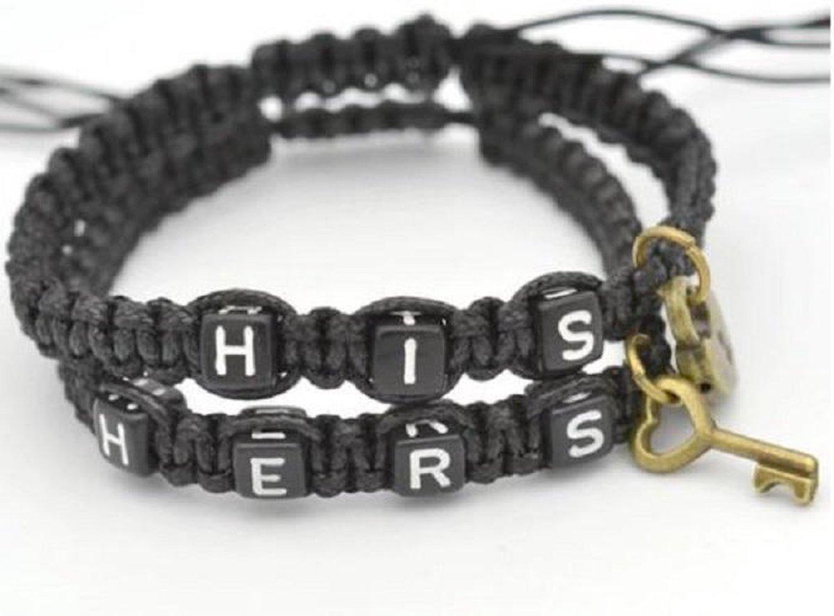 Couple bracelets   His lock, hers key   zwart   relatie kado   armbandenset - Jenta bijoux