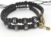 Couple bracelets | His lock, hers key | zwart | relatie kado | armbandenset