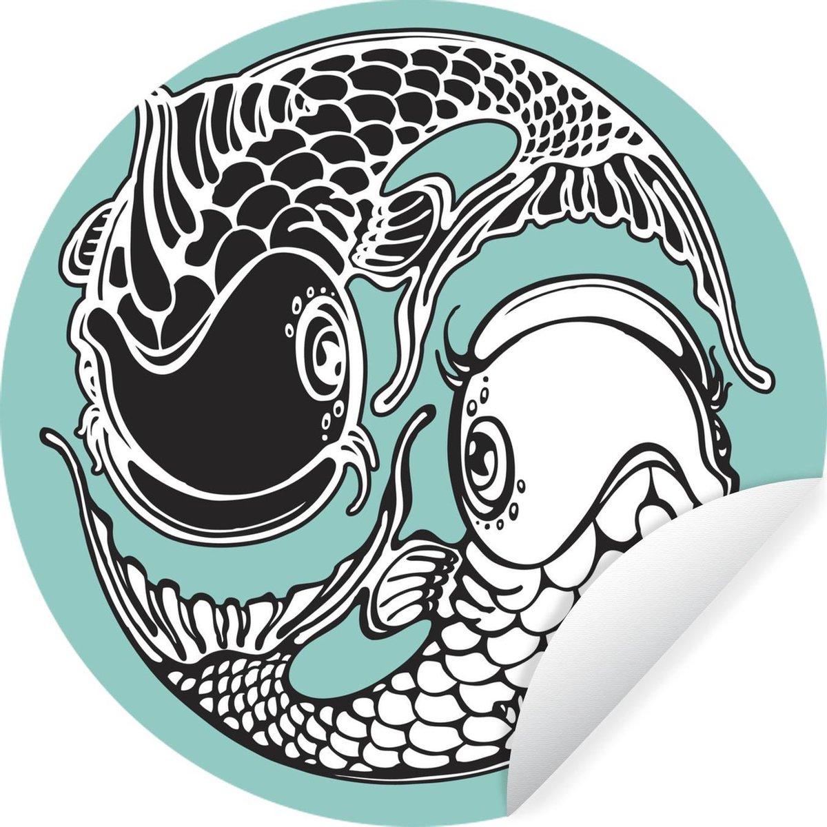 Wandcirkel Koikarpers Illustratie - Illustratie van koikarpers dieyin yang teken vormen -   140 cm - rond schilderij - behangcirkel - muurcirkel - wooncirkel - zelfklevend & rond uitgesneden