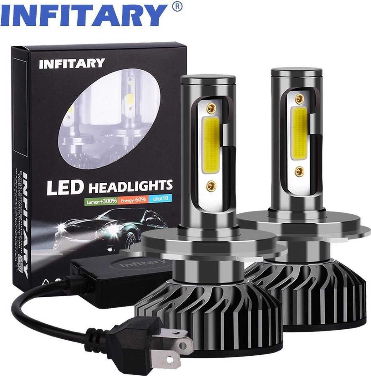 H4 LED Lamp Auto/Motor/Scooter (Set 2 stuks) - CANbus - Helder Wit 6500K - 72W - Dimlicht, Grootlich
