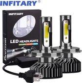 H4 LED Lamp Auto/Motor/Scooter (Set 2 stuks) - CANbus - Helder Wit 6500K - 72W - Dimlicht, Grootlicht & Mistlicht - Koplampen
