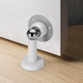 WiseGoods Premium Deurstop Wandmontage - Magnetische Deurbuffer - Messing - Elegant Design - Verstelbaar - Snel Gemonteerd - Wit