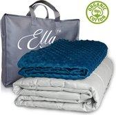 Ella Verzwaringsdeken Kind 2,4 kg 90x120 cm - Weighted Blanket - Verzwaarde deken - Incl. Grijs & Blauw 100 % Katoen Overtrek