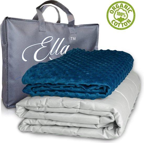 Ella Verzwaringsdeken Kind 2,4kg 90x120 cm - Weighted Blanket - Verzwaarde deken - Incl. Grijs & Blauw 100 % Katoen Overtrek