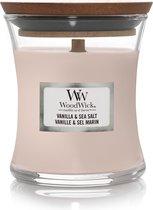 Woodwick Hourglass Medium Geurkaars - Vanilla & Sea Salt