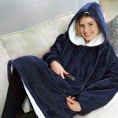 Hoodie Deken - Fleece Deken Met Mouwen - Hoodie Blanket - Oversized Hoodie - Fleece Deken - Indoor/Outdoor Coat - Warme Deken - Plaid Met Mouwen - Sherpa - One Size -Donker blauw