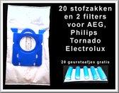 Koop 20x Universele stofzuigerzakken Philips, Electrolux,AEG, Tornado dan krijgt u extra 20 geurstaafjes + 2 filters