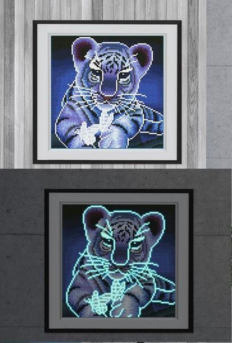 Glow In The Dark Diamond Painting Volwassenen/Kinderen - Ronde Steentjes - Volledig Pakket - Hobby - Dieren - Tijger 25x25cm