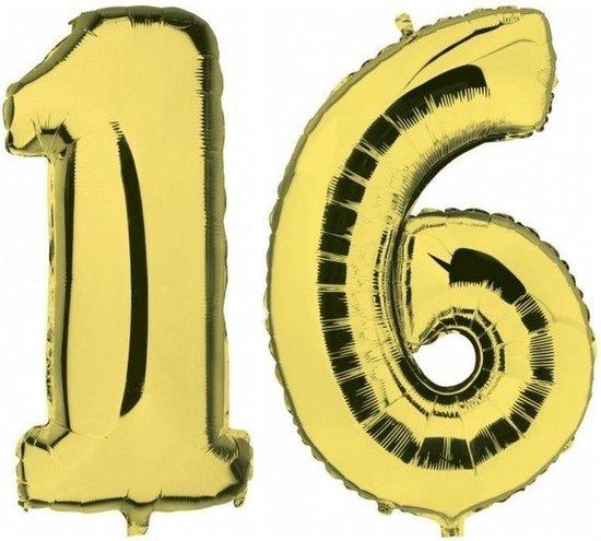 Sweet 16 gouden folie ballonnen 88 cm leeftijd/cijfer 16 jaar - Leeftijdsartikelen 16e verjaardag versiering - Heliumballonnen