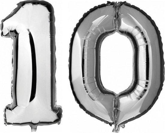 10 jaar zilveren folie ballonnen 88 cm leeftijd/cijfer - Leeftijdsartikelen 10e verjaardag versiering - Heliumballonnen