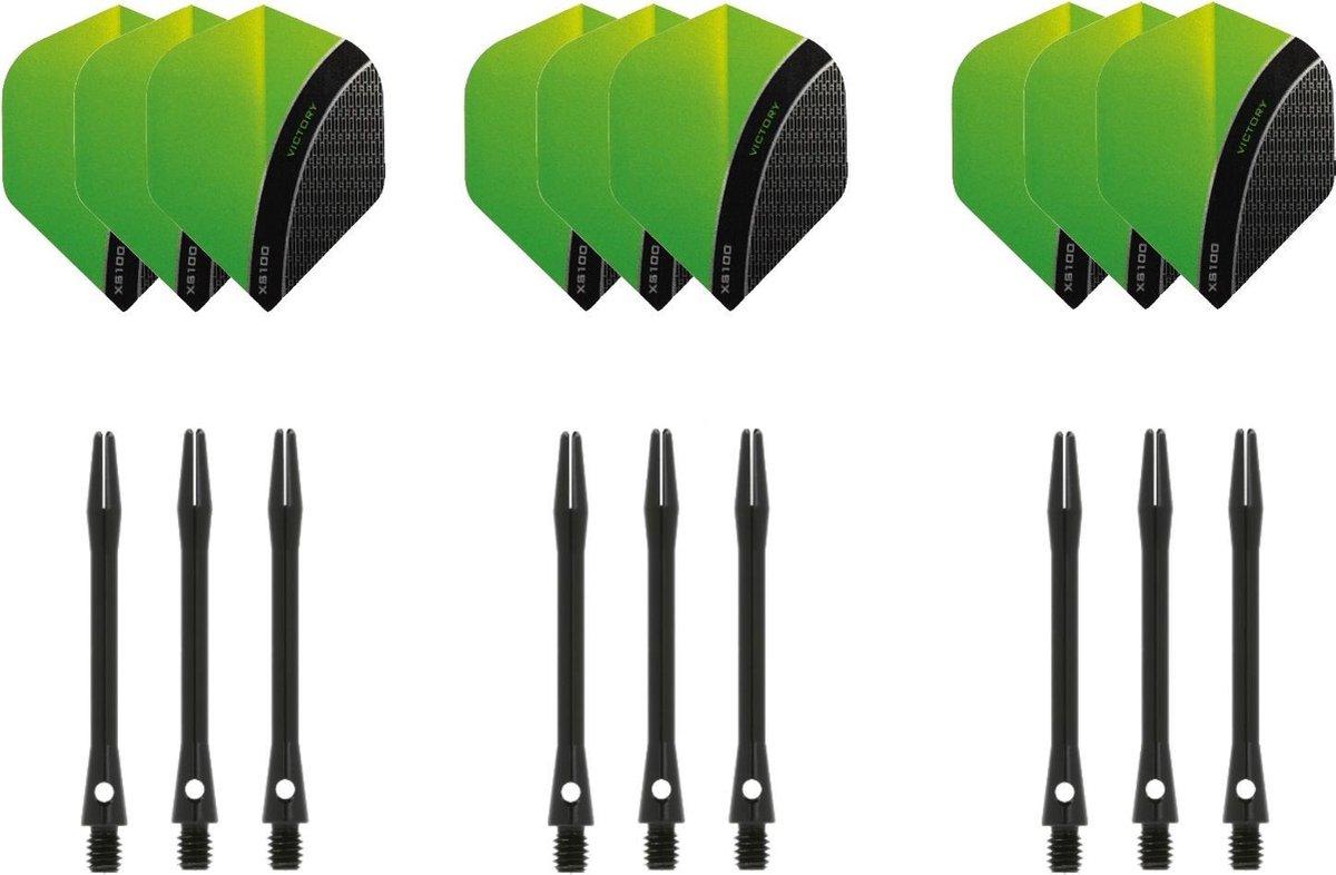 Dragon darts - 3 sets - XS100 Curve - Groen - Darts flights - plus 3 sets - aluminium - darts shafts - zwart - medium