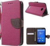 Shop4 - Sony Xperia E4 Hoesje - Wallet Case Lychee Leaf Roze