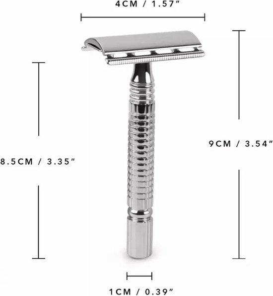 Safety razor QSHAVE + 5 titanium scheermesjes – dubbelzijdig scheermes voor mannen en vrouwen – klassiek scheermes