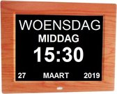 Leagwhar Kalenderklok Digitale Dementie klok hout | Kalender met datum, tijd en alarm / ochtend | middag | avond aanduiding