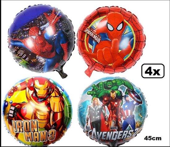 4x Folie ballon Super heroes 45cm - folieballon spiderman avangers carnaval thema feest verjaardag festival ballonnen