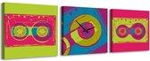 Cassettebandje - Canvas Schilderij Klok Vierkanten