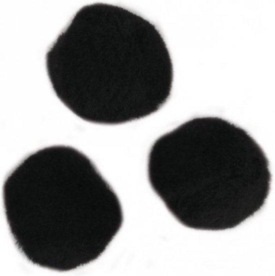 35x stuks knutsel pompons 25 mm zwart hobby knutselen - zelf dieren maken