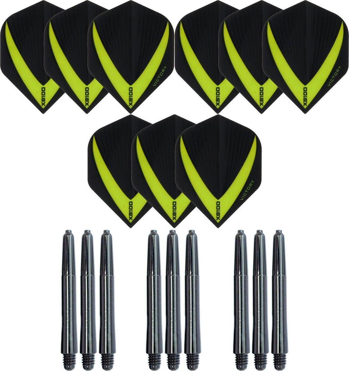 3 sets (9 stuks) Super Sterke - Groen - Vista-X - darts flights - inclusief 3 sets (9 stuks) - medium - darts shafts