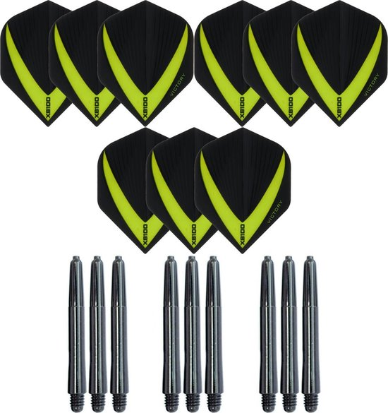 3 sets (9 stuks) Super Sterke – Groen - Vista-X – darts flights – inclusief 3 sets (9 stuks) - medium - darts shafts