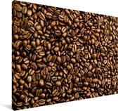 Lichtbruine koffiebonen op een hoopje Canvas 140x90 cm - Foto print op Canvas schilderij (Wanddecoratie woonkamer / slaapkamer)