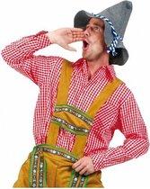 Rode Oktoberfest Tiroler blouse heren maat 2XL en 3XL