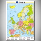 Poster kaart Europa Nederlandstalig XL - 100x140cm
