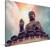Schitterende kleuren in de lucht boven de Tian Tan Boeddha Canvas 180x120 cm - Foto print op Canvas schilderij (Wanddecoratie woonkamer / slaapkamer) XXL / Groot formaat!