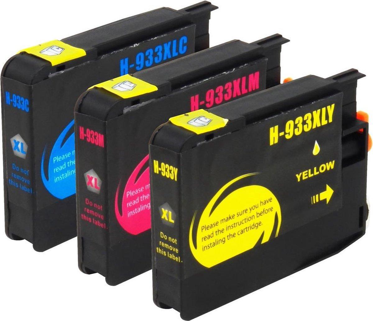 Huismerk HP 932 / HP 933 XL inktcartridges, set van 3 stuks. Cyaan / Magenta / Geel / Hoge Capaciteit - InktMaxx
