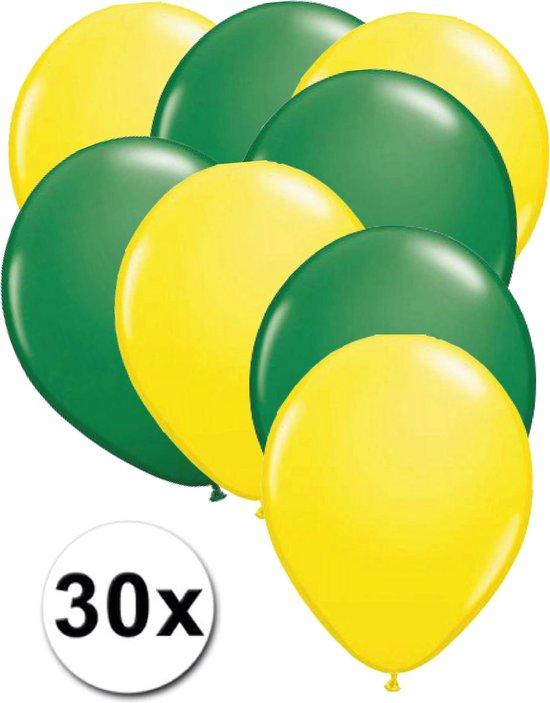 Ballonnen Geel & Groen 30 stuks 27 cm