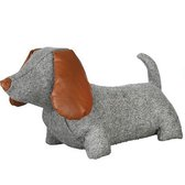 Deurstopper hond in grijs met cognac kleurige accenten
