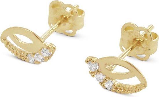 Silventi 121101594 14 Karaat Gouden oorstekers - zirkonia in opengewerkte blad 1 mm - lengte 7 mm - geelgoudkleurig