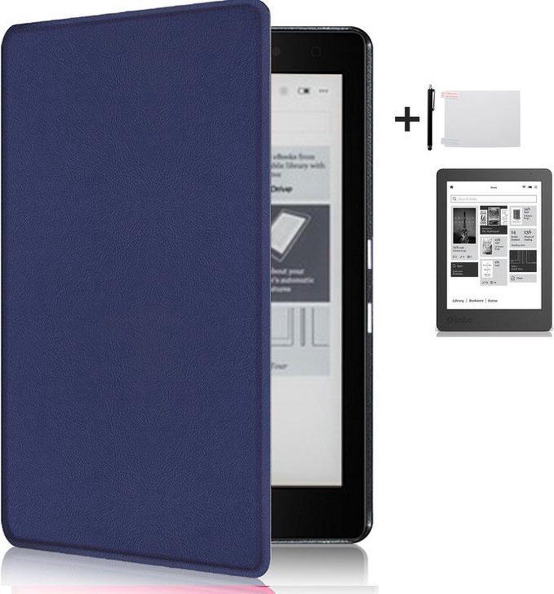 Kunstleren Sleepcover Beschermhoes Voor de Kobo Aura Edition 2 Ereader Editie 2nd - 6 Inch Slimfit Smart Case Cover Sleeve Hoes - Blauw - AA Commerce