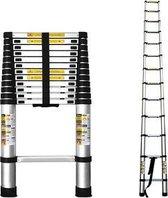 MASTER Telescopische ladder - 13 treeds - Inclusief stabiliteitsbalk - Werkhoogte 3.80m