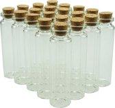 Glazen Mini Flesjes Met Kurk – Decoratie flesjes – Inhoud 20 ml - 20 Stuks