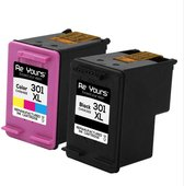 Remanufactured Inktcartridge compatible HP 301XL CH563EE & CH564EE 1set- met chip - inktniveau weergeven