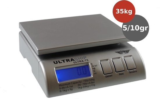 MyWeigh Ultraship-75 34kg x 5gr/10gr postweegschaal