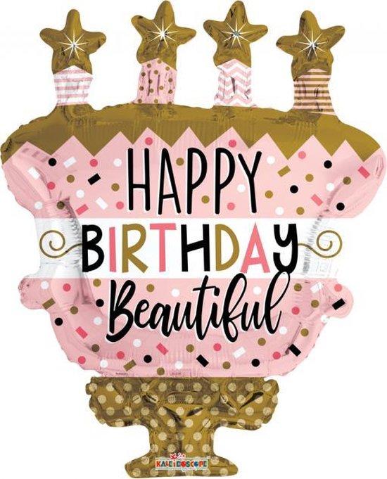 Folie ballon xl happy birthday taart 91,4 cm groot