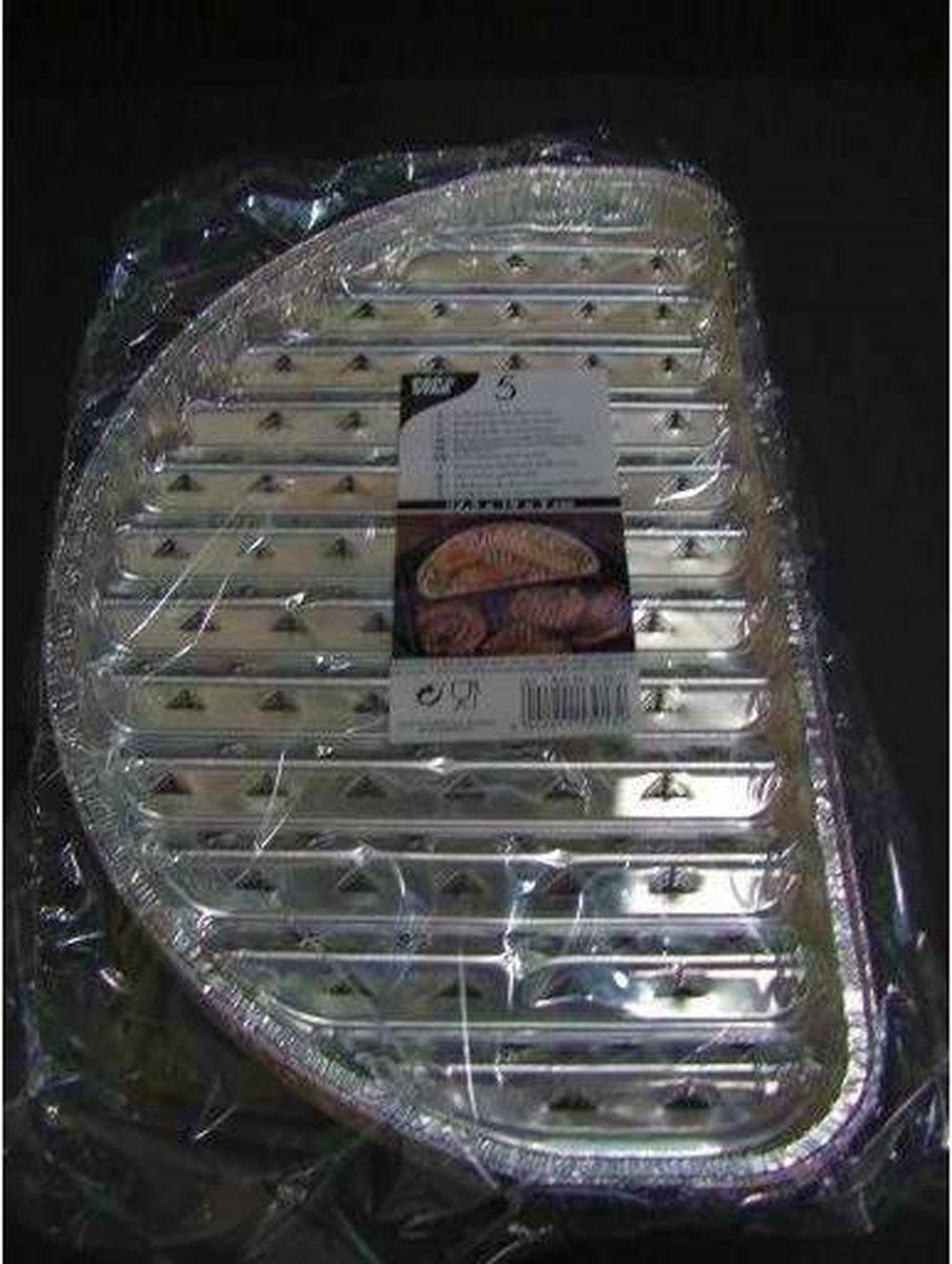 Papstar - Grill schalen half rond - 32,5x19 cm - 5 Stuks - Aluminium