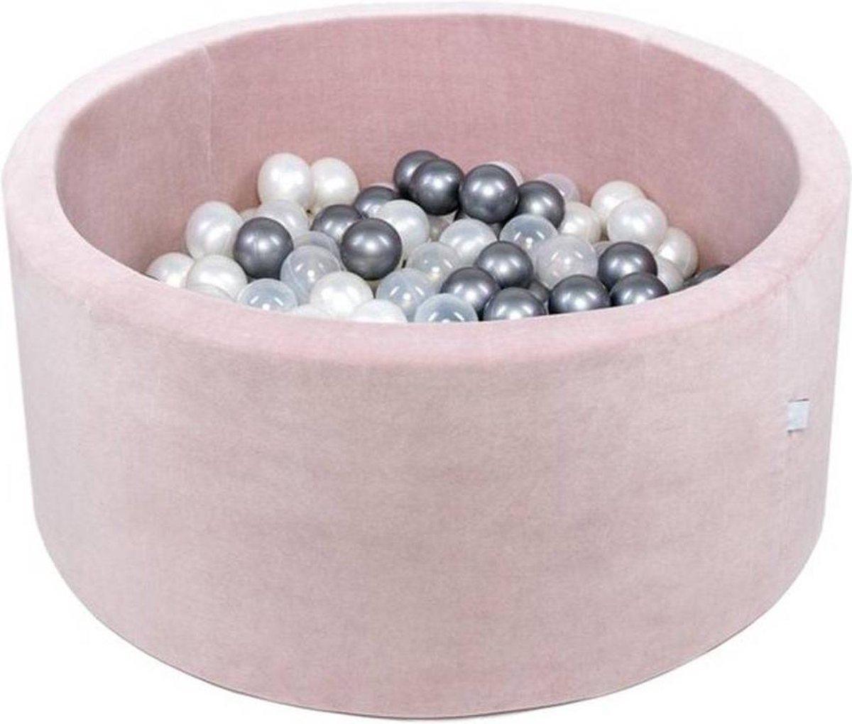 Ballenbak XL rond 90x40 velvet lichtroze Misioo, excl. ballen