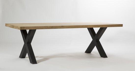 Eiken tafel - 200x100 - 4,5 cm dik - metalen x onderstel