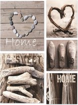 Art for the Home - Canvas Schilderij set - Home - Grijs - 60x80 cm