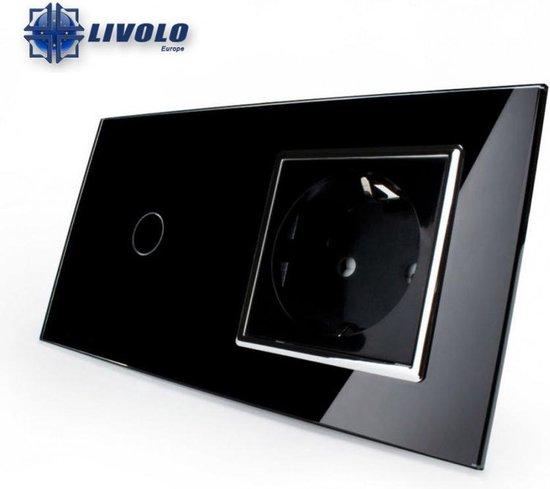 Livolo Tweevoudig-Enkelpolig Touch Lichtschakelaar Met Stopcontact Zwart