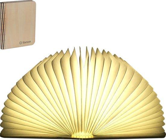 Starbook boeklamp - Premium - Lichthouten cover warm wit licht - Relatiegeschenk - Tafellamp