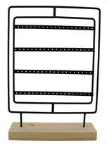 Dielay - Sieradenhouder - Display voor Sieraden - Oorbellenrek - Hout en Metaal - 35x25x7 cm - Zwart