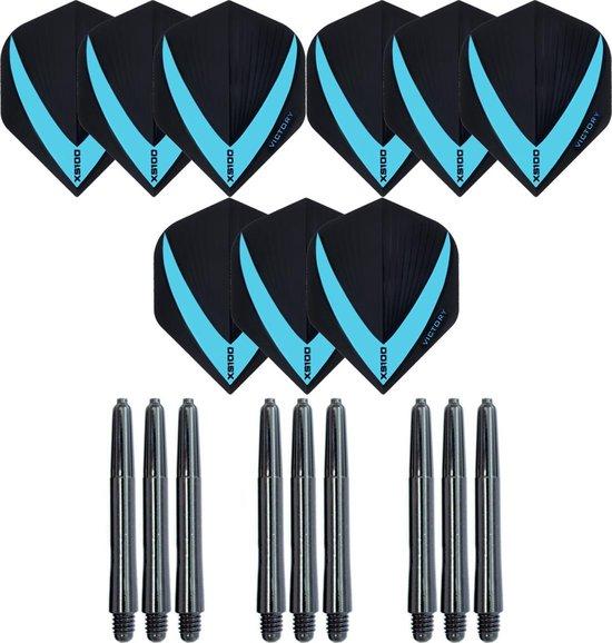 3 sets (9 stuks) Super Sterke – Aqua - Vista-X – darts flights – inclusief 3 sets (9 stuks) - medium - darts shafts
