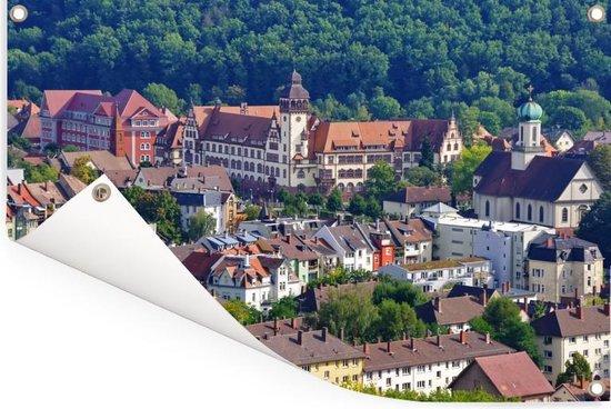 Gekleurde daken in het Duitse Freiburg Tuinposter 120x80 cm - Tuindoek / Buitencanvas / Schilderijen voor buiten (tuin decoratie)