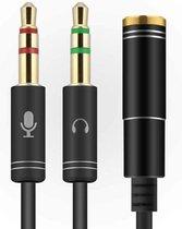 3.5mm Jack Aux Female Dual Male Headset Microfoon 4-Pin Audio Splitter - Zwart