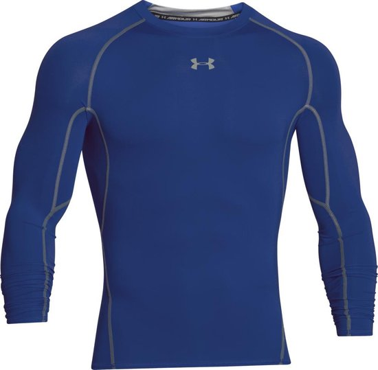 Under Armour HG Armour LS Heren Sportshirt - Royal - Maat S